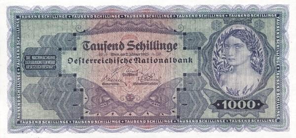 Austria 1000 Schillinge (1925 Oesterreichische Nationalbank)