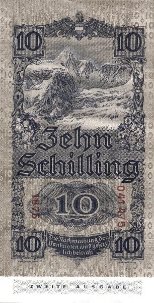 Austria 10 Schilling (1945 Oesterreichische Nationalbank 2nd issue)