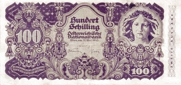 Austria 100 Schilling (1945 Oesterreichische Nationalbank 2nd issue)