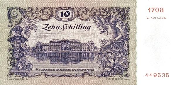 Austria 10 Schilling (1949-1954 Oesterreichische Nationalbank 2nd issue)