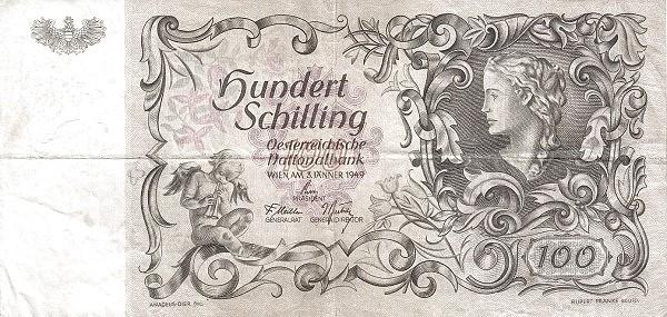 Austria 100 Schilling (1949-1954 Oesterreichische Nationalbank)