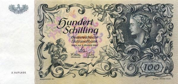 Austria 100 Schilling (1949-1954 Oesterreichische Nationalbank 2nd issue)
