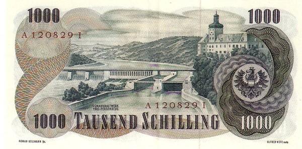 Austria 1000 Schilling (1956-1965 Oesterreichische Nationalbank)